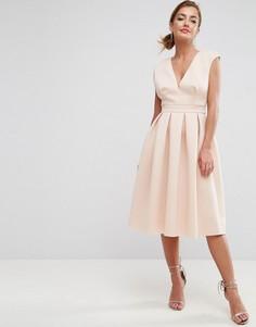 Платье миди с глубоким вырезом ASOS - Розовый
