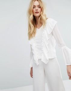 Блузка с рюшами спереди Aeryne - Белый