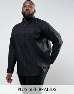 Черная оксфордская рубашка с длинными рукавами Jacamo PLUS - Черный