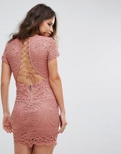 Кружевное платье мини Love Triangle - Розовый