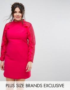 Платье-футляр с кружевными вставками и оборками Truly You - Мульти