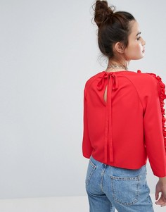 Топ с завязкой на спине и рюшами H! By Henry Holland - Красный