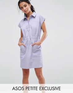 Хлопковое платье-рубашка в стиле милитари эксклюзивно для ASOS PETITE - Фиолетовый
