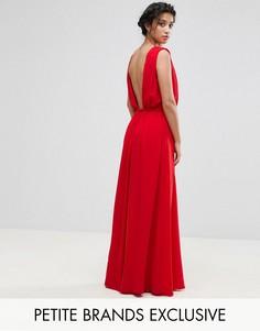 Платье макси с глубоким вырезом на спине John Zack Petite - Красный