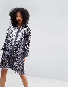 Платье‑рубашка с пайетками Religion - Серебряный