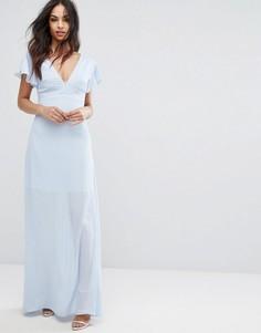 Платье макси с оборками на рукавах PrettyLittleThing - Синий