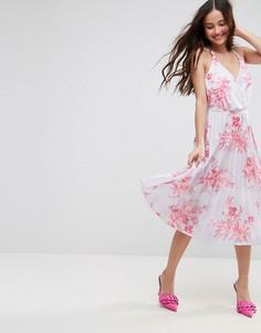 Плиссированное платье миди из крепа с цветочным принтом ASOS - Мульти