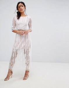 Кружевное платье макси с разрезами на талии Boohoo - Белый