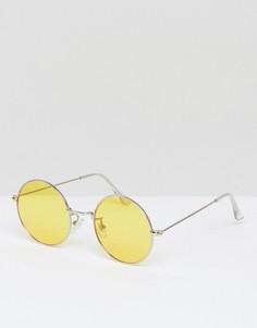 Большие круглые солнцезащитные очки с желтыми стеклами Jeepers Peepers - Желтый