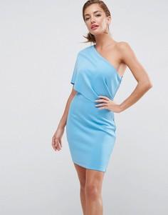 Платье мини на одно плечо ASOS - Синий