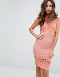 Платье с кружевными и сетчатыми вставками PrettyLittleThing - Розовый