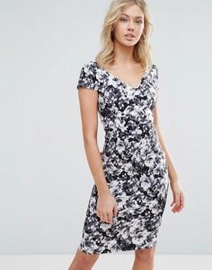 Платье миди с короткими рукавами и цветочным принтом Vesper - Черный