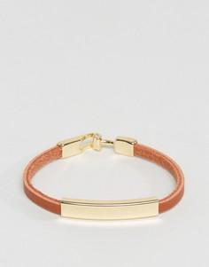 Светло-коричневый кожаный браслет DesignB эксклюзивно для ASOS - Рыжий