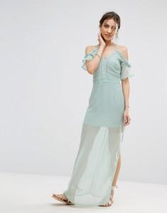 Шифоновое платье макси на бретельках с открытыми плечами Boohoo - Зеленый