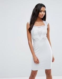 Кружевное платье-футляр с отделкой пайетками Michelle Keegan Loves Lipsy - Серебряный