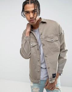 Джинсовая oversize-куртка с рваной отделкой и стираным эффектом Sixth June - Светло-серый
