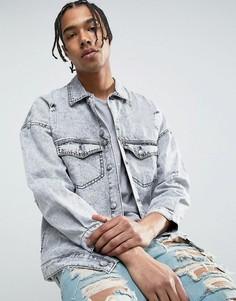 Свободная джинсовая куртка с эффектом кислотной стирки и потертостями Sixth June - Серый