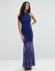 Платье макси с кружевной отделкой лифа Lipsy - Темно-синий