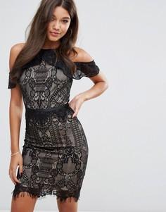 Кружевное платье-футляр с оборками и открытыми плечами Lipsy - Черный