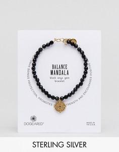 Позолоченный браслет из черного оникса с подвесками Dogeared Balance - Черный