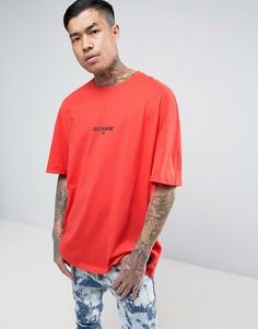 Красная oversize-футболка с логотипом Sixth June - Красный