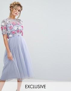 Платье миди с отделкой 3D Lace & Beads - Розовый