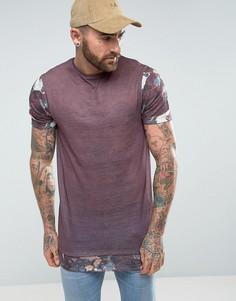 Супердлинная футболка из ткани под лен с цветочным принтом на рукавах и по низу ASOS - Фиолетовый