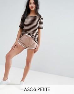 Базовые беговые шорты с контрастной окантовкой ASOS PETITE - Коричневый