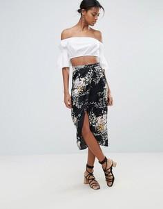 Жаккардовая юбка миди с запахом и цветочным узором New Look - Черный