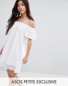 Платье мини с открытыми плечами и кружевным краем ASOS PETITE - Белый