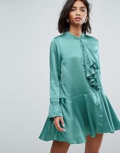 Атласное платье мини с плиссированной отделкой и оборками Sister Jane - Зеленый