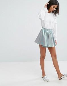 Короткая юбка-шорты плиссе цвета металлик Sister Jane - Зеленый