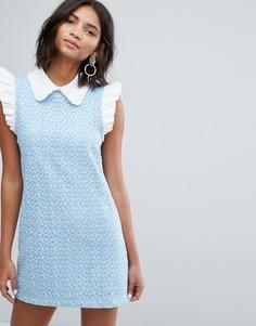 Кружевное платье мини с воротником Sister Jane - Синий
