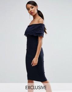 Платье-футляр с кружевным верхним слоем и оборкой Vesper - Темно-синий
