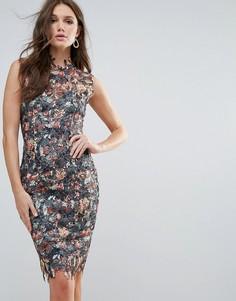 Платье кроше с цветочным принтом Paperdolls - Мульти