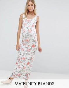 Трикотажное платье макси без рукавов с цветочным принтом Mamalicious - Мульти Mama.Licious