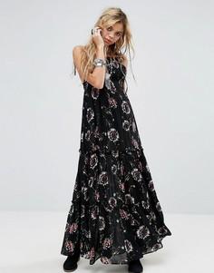 Платье макси с цветочным принтом Free People - Черный