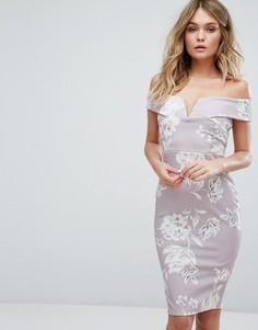 Платье миди с открытыми плечами и цветочным принтом Missguided - Серый