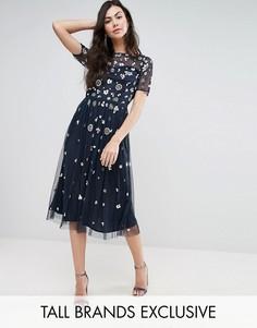 Платье миди с цветочной 3D-отделкой Maya Tall - Темно-синий