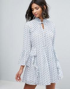 Свободное платье с вышивкой и оборками Sister Jane - Белый