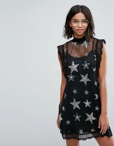 Сетчатое платье с отделкой из пайеток и бисера в форме звезд Sister Jane - Черный