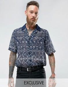Рубашка с отложным воротником с геометрическим принтом Reclaimed Vintage - Темно-синий