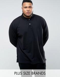 Черная футболка-поло с длинными рукавами Jacamo PLUS - Черный