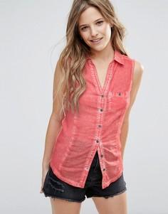 Выбеленная джинсовая рубашка без рукавов Brave Soul - Розовый