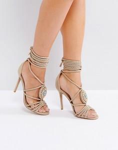 Декорированные босоножки на каблуке с контрастным змеиным узором Forever Unique - Бежевый