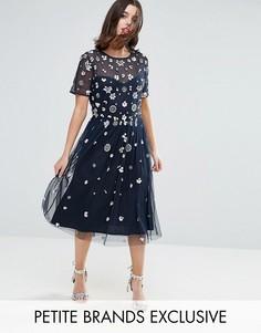 Платье миди с цветочной 3D-отделкой Maya Petite - Темно-синий