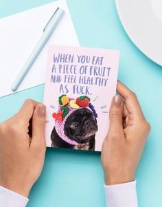Поздравительная открытка с надписью Healthy AF Jolly Awesome - Мульти