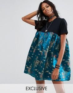Платье-футболка со вставкой из парчи Reclaimed Vintage Inspired - Черный