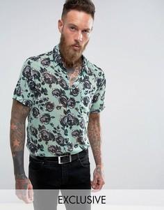 Рубашка классического кроя с принтом роз Reclaimed Vintage Inspired - Синий