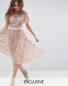 Платье миди с отделкой Needle and Thread Starburst - Розовый